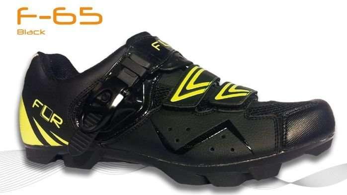 Велотуфли 12-913 F-65 MTB облегченные искусственная кожа 2 липучки+застежка р.41 черные FunkierBike
