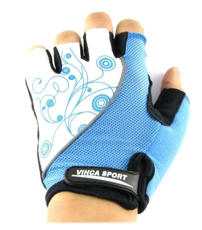 Перчатки велосипедные женские, белые с синим, размер ХS, Vinca sport VG 927 white/blue (XS)