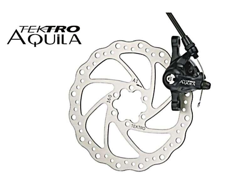 Торм. набор TEKTRO диск.мех.зад. Aquila MD-M500 (ротор 160мм+суппорт+колодки) облегч. черный 6-501