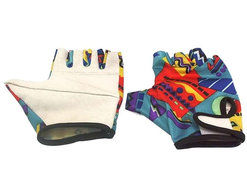 Перчатки кожаные TBS B-31, низ  с наполнителем, лайкровый верх, обрезанные пальцы, цветные, S, B-31