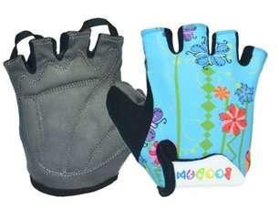 Перчатки TBS 223-4 , детские, микрофибра / лайкра, L/XL(8,2х13см), голубые с цветами, 223-4(L/XL)