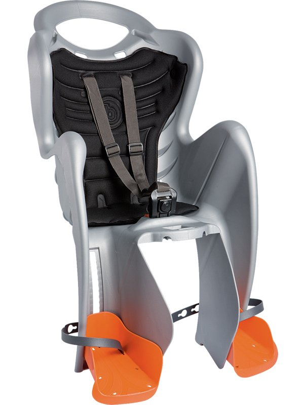 Велокресло детское BELLELLI заднее Mr Fox Standard B-Fix, серебристое, арт.01FXSB0007