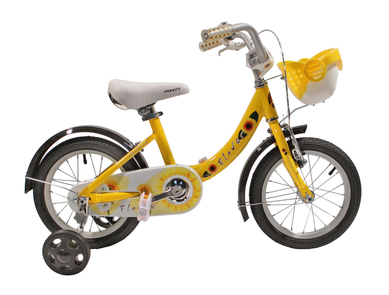 Детский велосипед Gravity FLOWER 14 2015 (Возраст 3 - 5 лет рост до 115 см желтый).