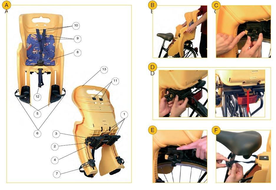 Детское велокресло на багажник BELLELLI Mr Fox Clamp заднее, до 7лет/22кг, кремовове, 01FXM00025