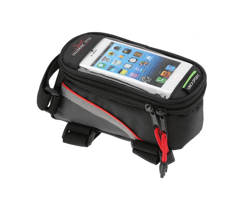 Велосумка на раму, отделение для телефона, отверстие под наушники, 185х90х100мм, FB 07L black/red