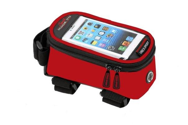 Велосумка на раму, отделение для телефона, отверстие под наушники, 190х90х95мм, FB 07-2 M red