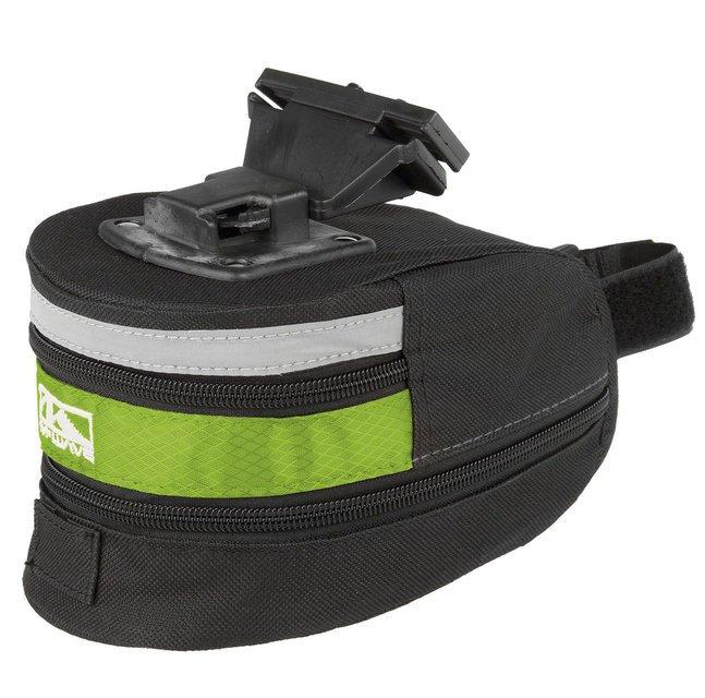 Подсумок велосипедный M-WAVE подседельный быстросъемный, размер L (100) черно-зеленый, 5-122485