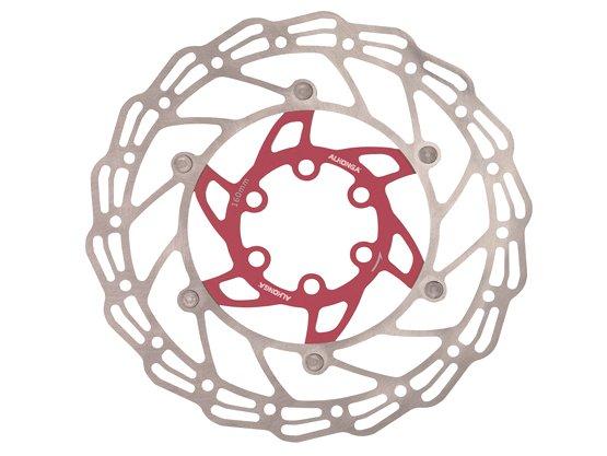 Диск тормозной ALHONGA, 140 мм, сталь, серебристый/красный, с болтами, HJ-DXR1407-RD