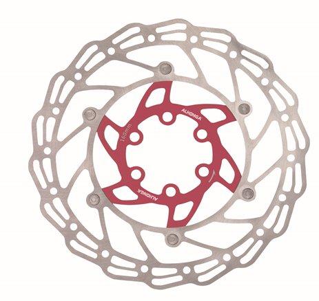 Диск тормозной ALHONGA, 160мм, нержавеющая сталь, серебристый/красный, с болтами, HJ-DXR1607-RD