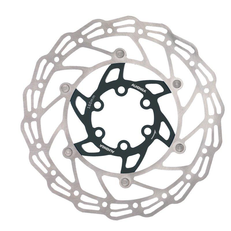 Диск тормозной ALHONGA, 160мм, нержавеющая сталь, серебристый/чёрный, с болтами, HJ-DXR1607-BK
