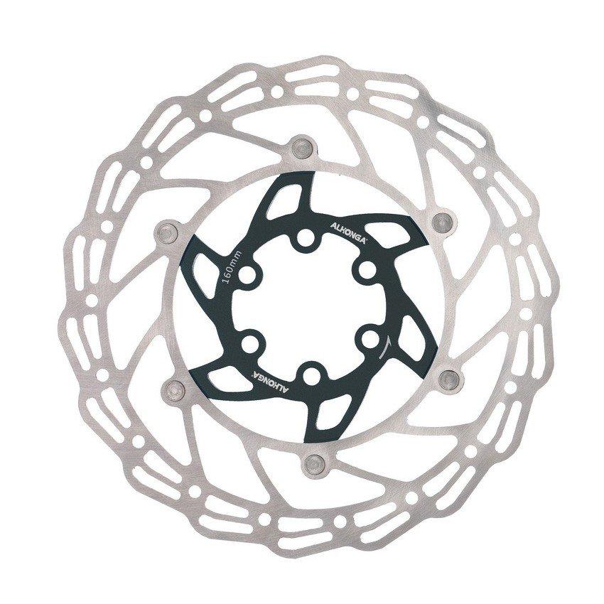 Диск тормозной ALHONGA, 180мм, нержавеющая сталь, серебристый/чёрный, с болтами, HJ-DXR1807-BK