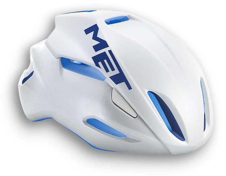 Велошлем MET Manta, бело-синий (Размер: L (59-62 см))