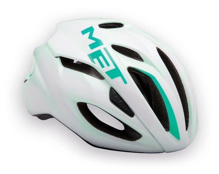 Велошлем MET Rivale, бело-зеленый  (Размер: M (54-58 см))