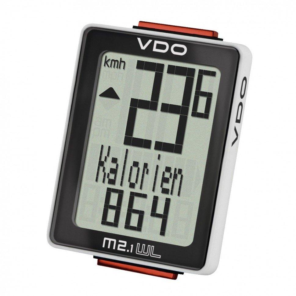 Велокомпьютер VDO M2.1WL, 8 ф-ций, беспроводной, 3-строчный дисплей, черно-белый,  4-30025