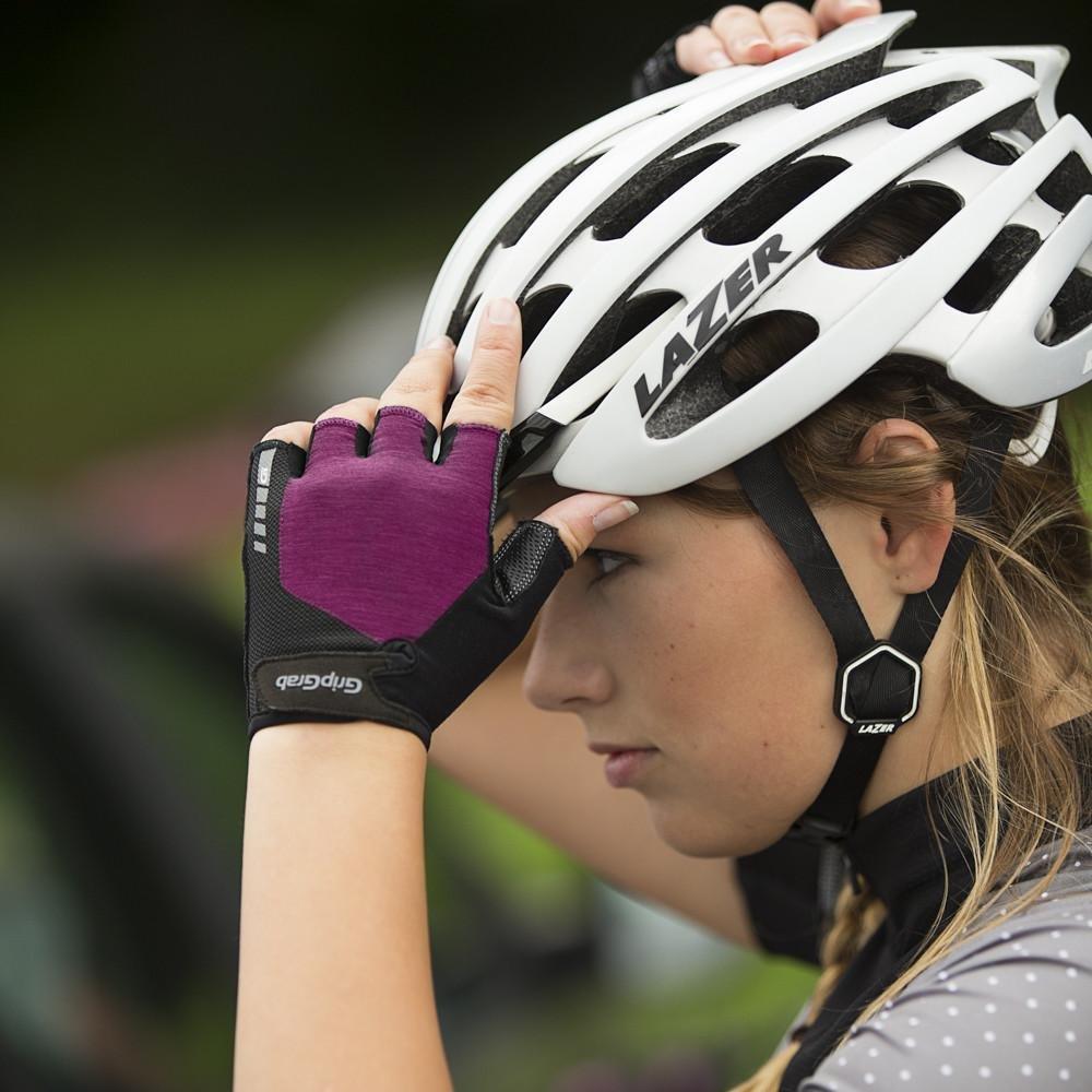 Велоперчатки женские короткие GripGrab ProGel, гелевые вставки, удаление пота, лайкра, фиолетовый (Размер S)