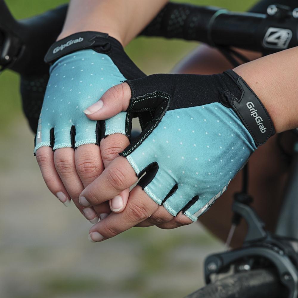 Велоперчатки женские короткие GripGrab Rouleur, удаление пота, лайкра/замша, зеленый (Размер S)