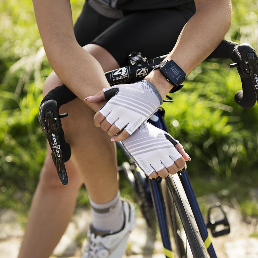 Велоперчатки женские короткие GripGrab Solara, гелевые накладки, полиэстер, белый (Размер S)
