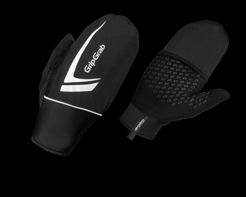 Велоперчатки зимние GripGrab Running Thermo, ветрозащита, силиконовые вставки, черный, (Размер XS (7))