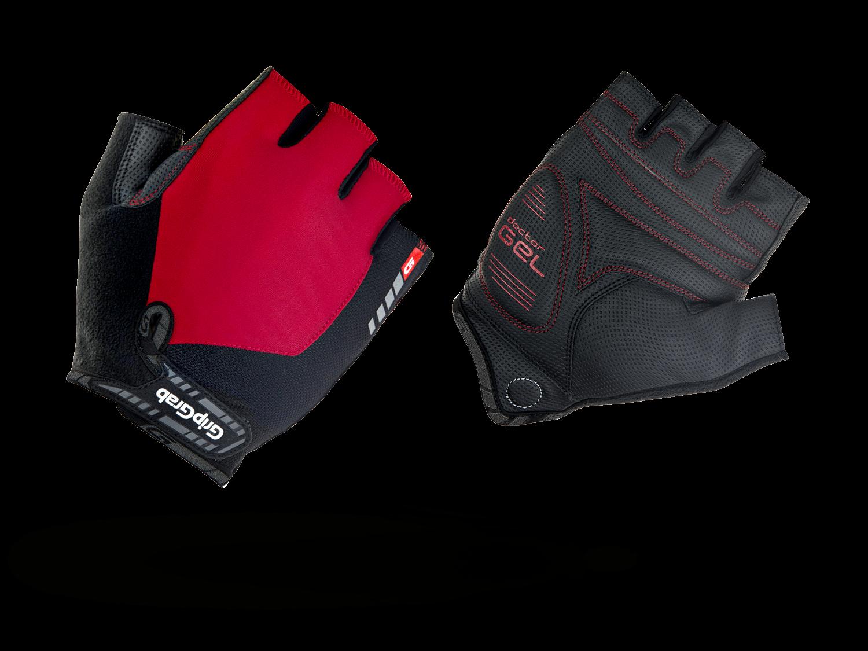 Велоперчатки короткие GripGrab ProGel, синтетисческая кожа, гелевые накладки, красный (Размер L)