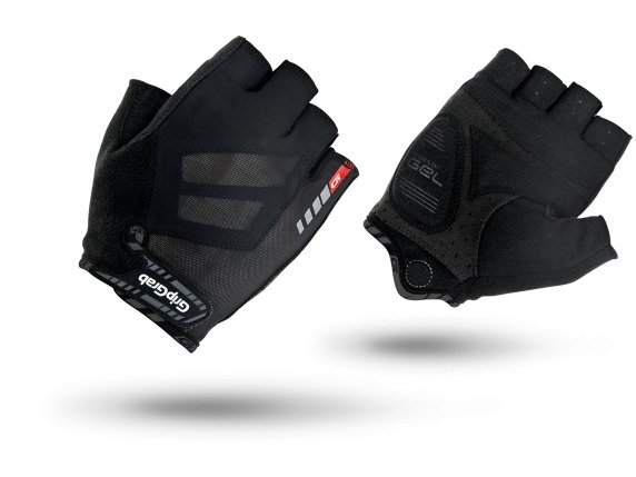 Велоперчатки короткие GripGrab Short Roadster, гелевые вставки, черный (Размер S)