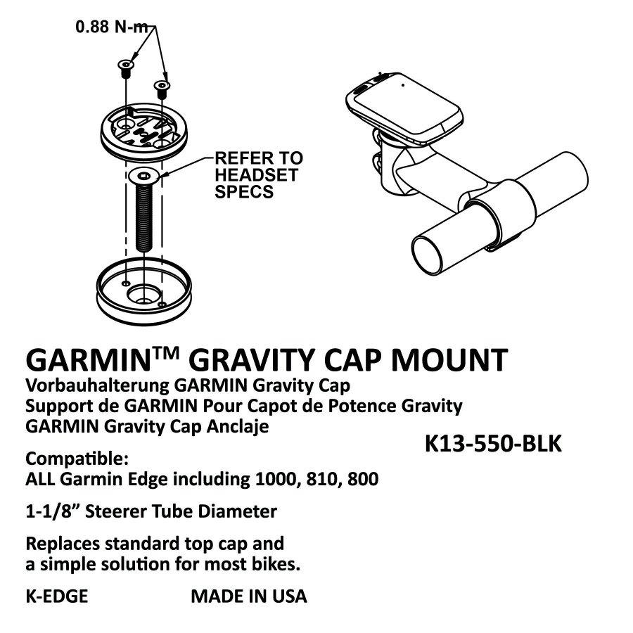 Крепление для велокомпьютера K-EDGE Garmin Gravity Cap Mount Black Anodize, K13-550-BLK