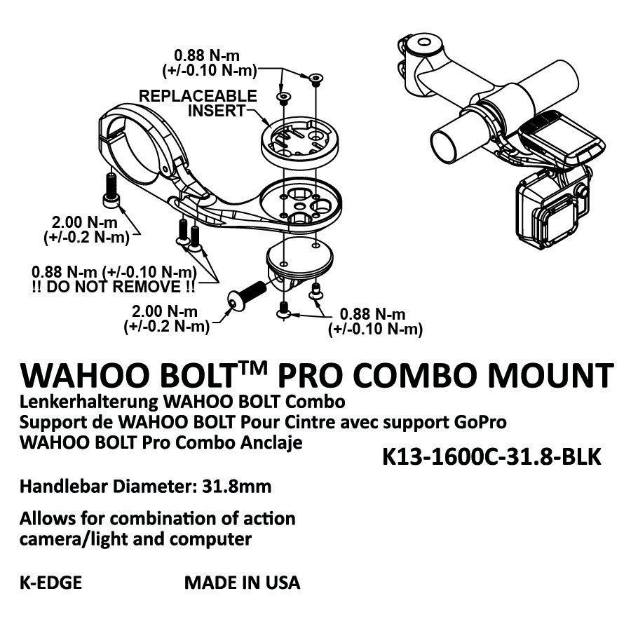 Крепление для велокомпьютера K-EDGE Garmin Pro XL Combo Mount, 31,8mm, черный, K13-1505C-31.8-BLK