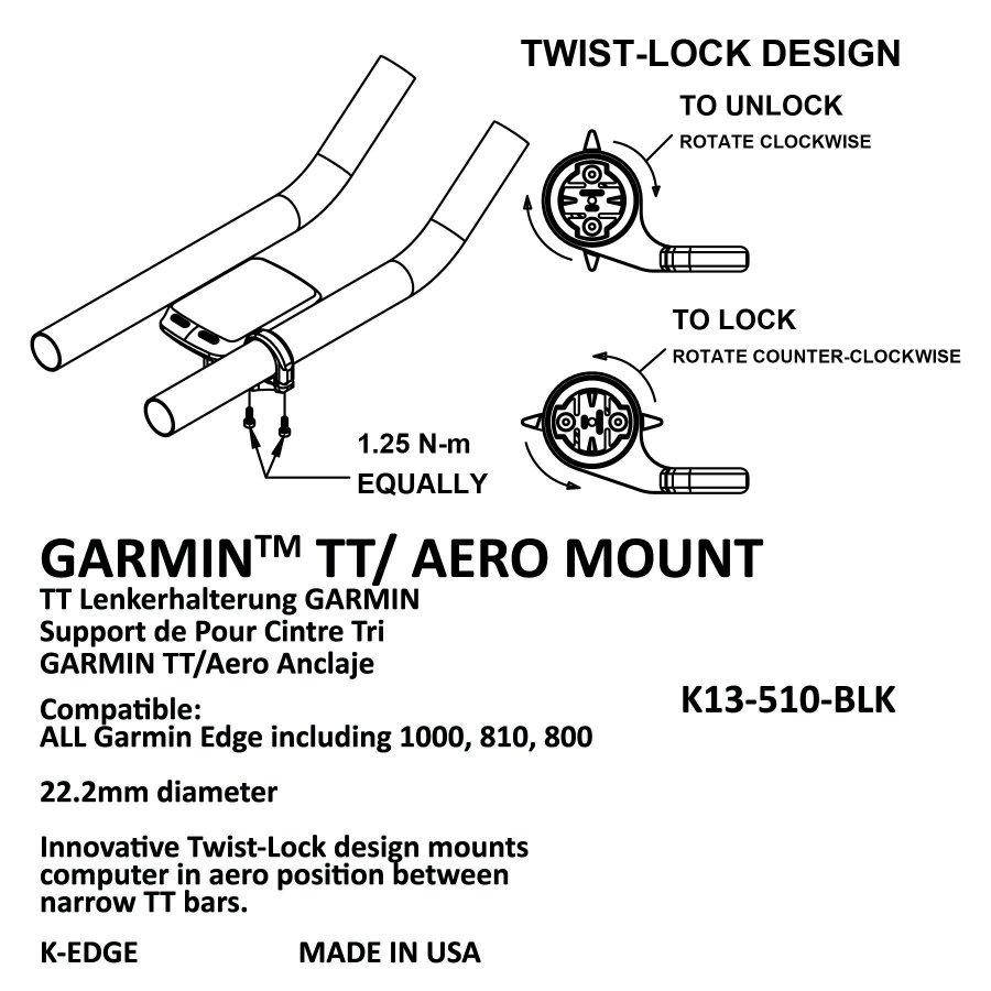 Крепление для велокомпьютера K-EDGE Garmin TT/Aero Mount, черный, K13-510-BLK
