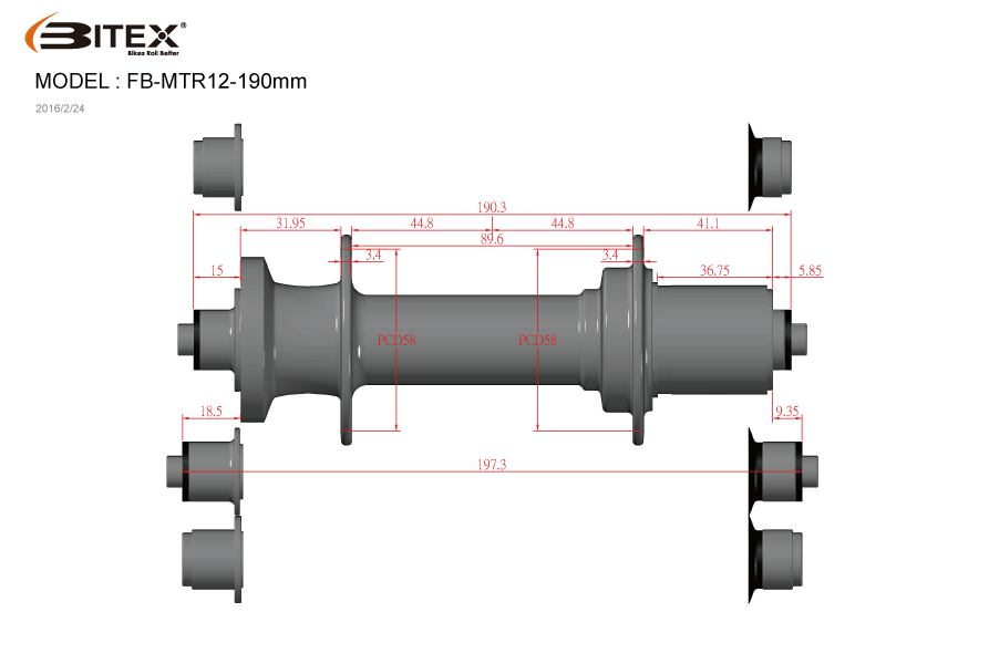 Втулка Bitex задняя фиолетовая FB-MTR12-197, под ось 12x197 мм, 32 спицы, 340гр, FB-MTR12-197Purple