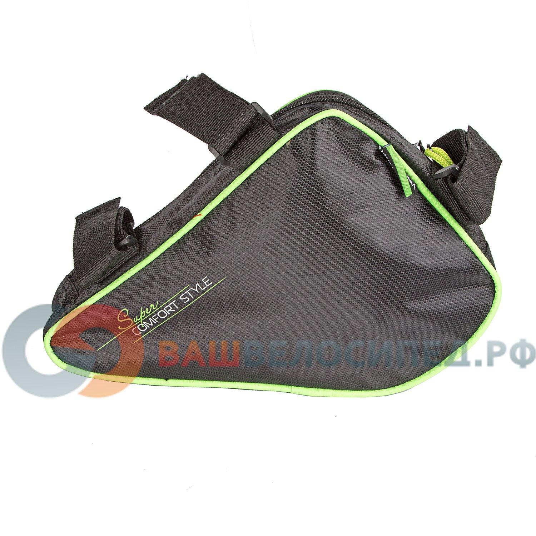 Сумка под раму велосипеда Vinca Sport, карман для телефона внутри сумки,270*220*65мм,зеленый кант,FB