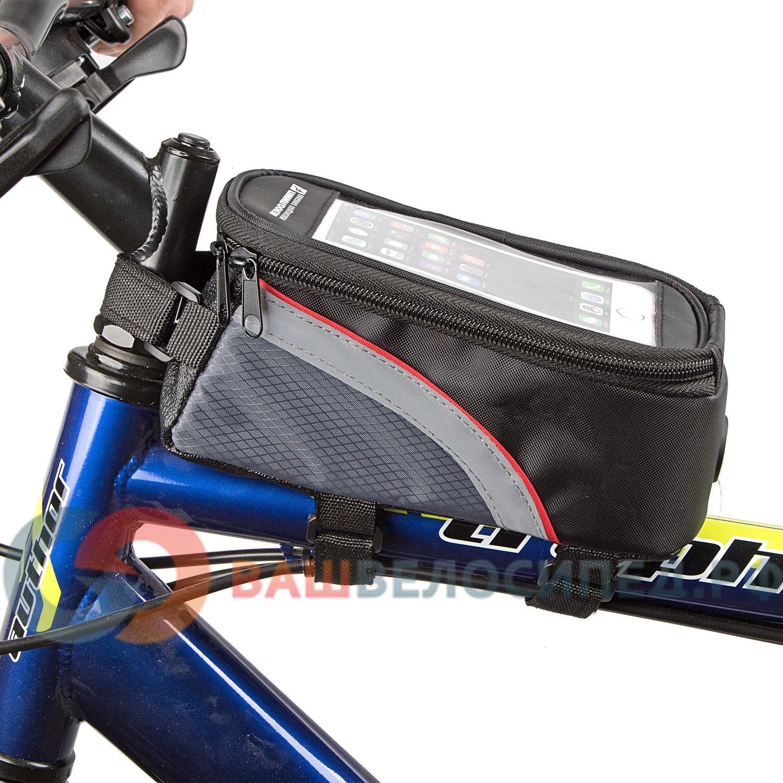 """Велосумка MINGDA на раму L19,5хH9хW8,5 с отделением для смартфона, окошко 4,8"""", на липучках, 12496-M"""