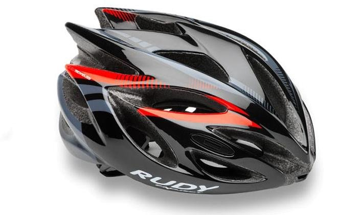 Каска Rudy Project RUSH BLACK - RED FLUO SHINY  S