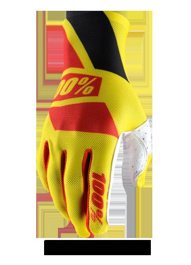 Велоперчатки 100% Celium Glove, желто-красный 2017 (Размер: M)