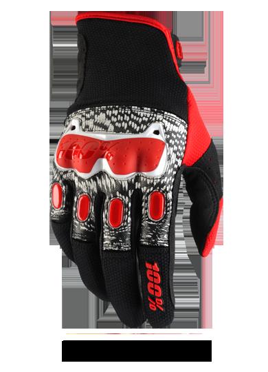 Велоперчатки 100% Derestricted Glove, черно-бело-красный 2017 (Размер: L)