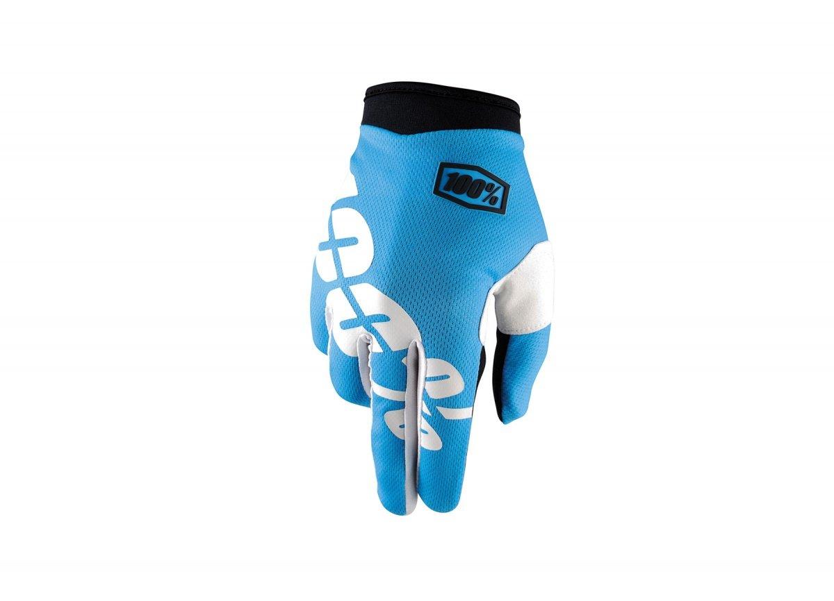 Велоперчатки 100% ITrack Glove, голубой 2017 (Размер: L)