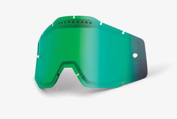 Линза 100% Racecraft/Accuri/Strata Vented Dual Pane Lens Anti-Fog Green Mirror, 51006-005-02