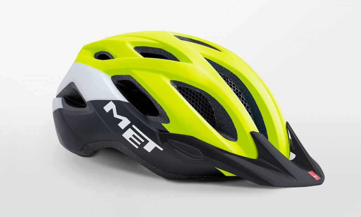 Велошлем Met Crossover Safety, желто-бело-черный 2018 (Размер: M (52-59 см))