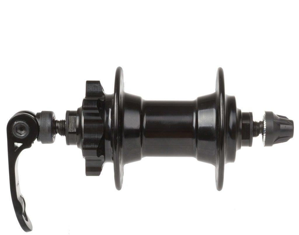 Втулка передняя, 32H, под дисковый тормоз, с эксцентриком, 100 мм, алюминий, черная, 00-180250