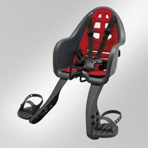 Кресло детское с креплением на вынос руля серое с красной накладкой, до 15кг, Италия