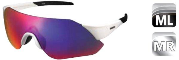 Велосипедные очки Shimano AEROLITE, оправа белый металлик, дымчато-красные MLC линзы, ECEARLT1MLKW