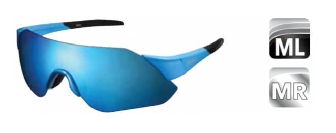 Велосипедные очки Shimano AEROLITE, голубой глянец, дымчато-красные MLC линзы, ECEARLT1MLGB
