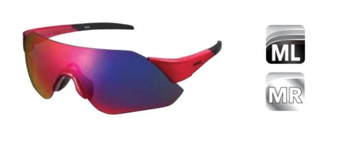 Велосипедные очки Shimano AEROLITE, красные, дымчато-серебрисиые зеркальные линзы, ECEARLT1MLR