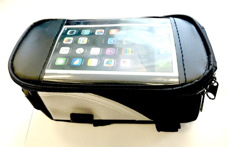 Сумочка/чехол+бокс на раму д/смартфона, 200х110х90мм, влагозаща, черно-серебристая, 00-180430