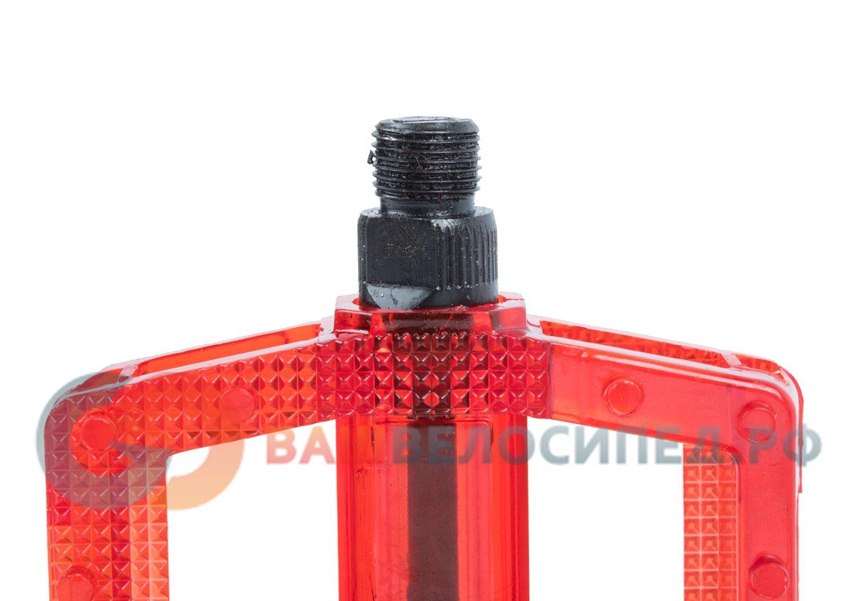 Педали велосипедные M-WAVE BMX, пластикоевые, широкие, ось Cr-Mo, красные, 5-311383