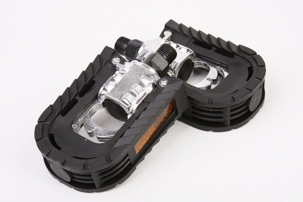 Педали складные FP-909, алюминий/пластик, черно-серебристые, 00-170762