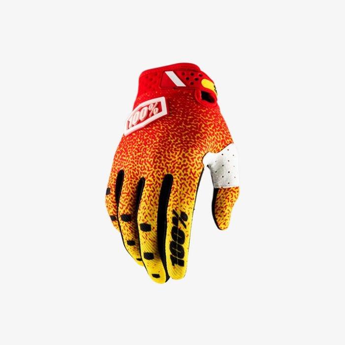 Велоперчатки 100% Ridefit Glove, красно-желтый 2018 (Размер: M)