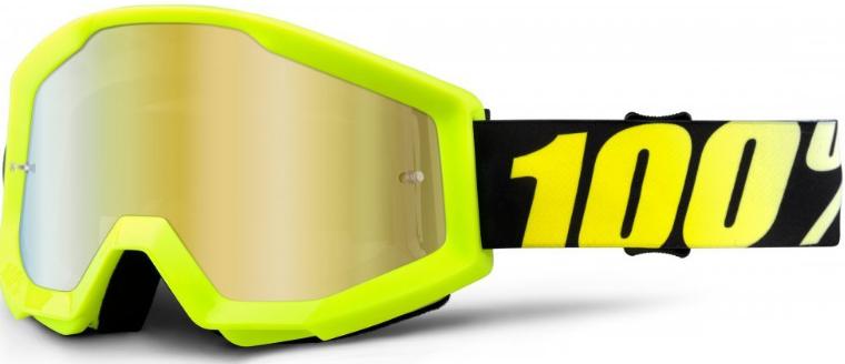 Веломаски 100% Strata Neon Yellow / Mirror Gold Lens, 50410-004-02