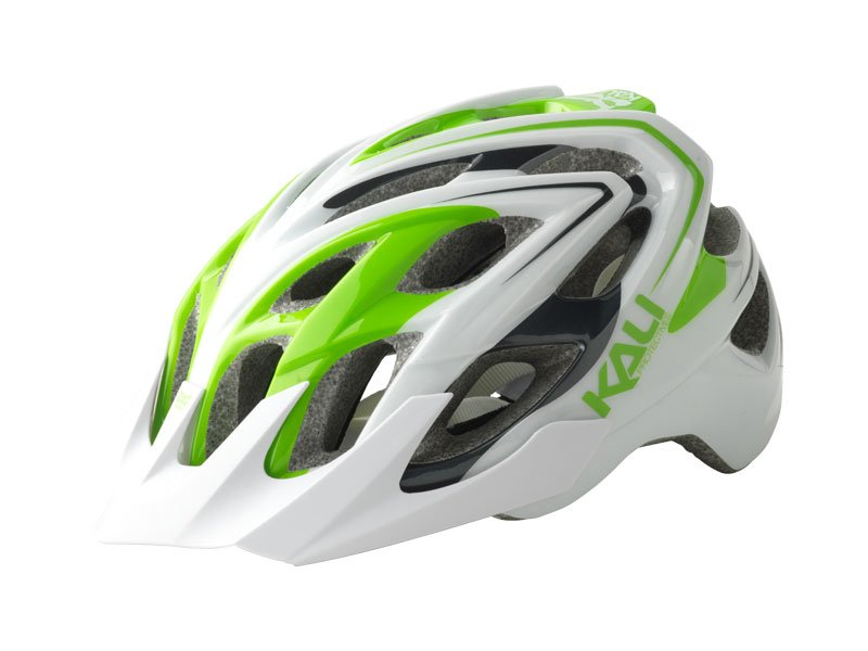 Велошлем KALI Chakra Plus Sonic, бело-зеленый  (Размер: S/M)