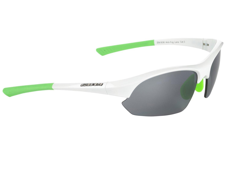 Очки Slide SWISSEYE спортивные: оправа, белый/зелёный, линзы дымчатые FM+оранжевые+бесцветные, 12277