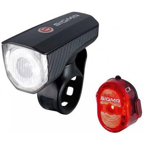 Комплект велофара+фонарь SIGMA SPORT AURA 40 USB / NUGGET II с кабелем USB