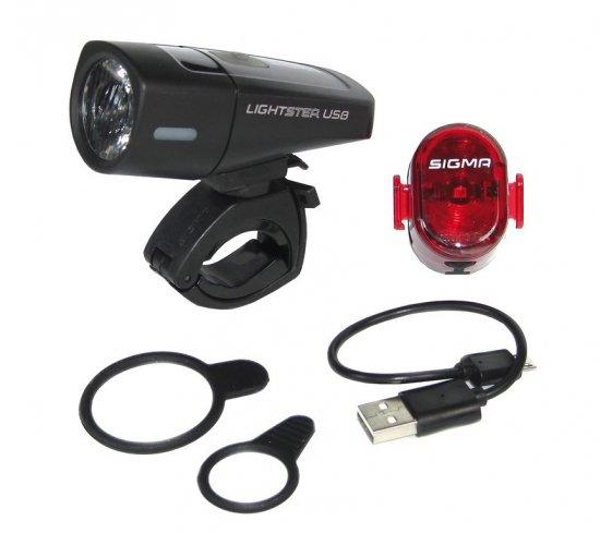 Комплект велофара+фонарь SIGMA SPORT LIGHTSTER USB / NUGGET II с кабелем USB
